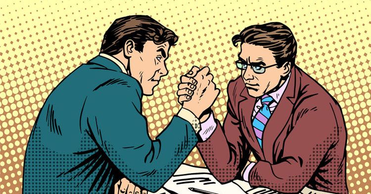 Arm wrestling to change someone's mind.