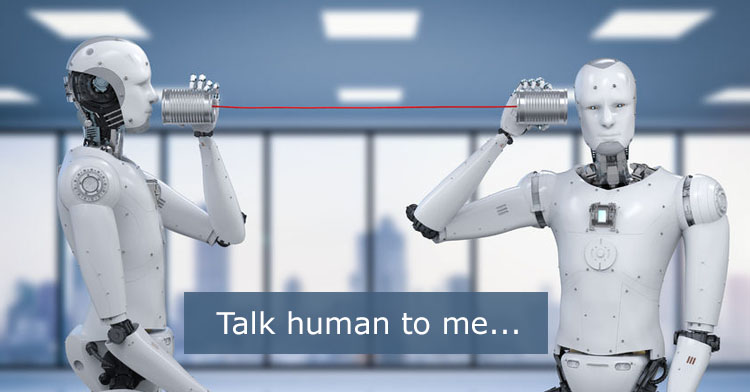 The rise of conversational copywriting, with two robots talking