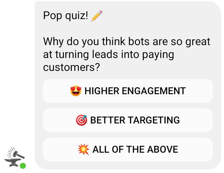 multiple choice answers on chatbot